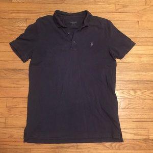 AllSaints navy s/s polo shirt - Medium